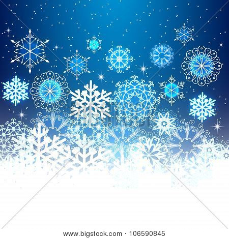 Christmas snowflakes light background.