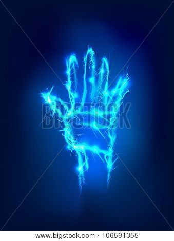 Hand raised up  made of electric lighting, thunder storm effect.