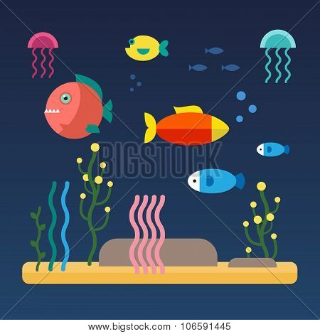 Fishes swimming at the sea bottom