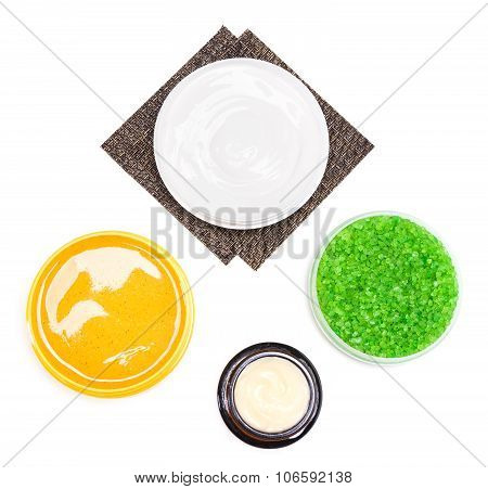 Body Care Cosmetic Products On White Background