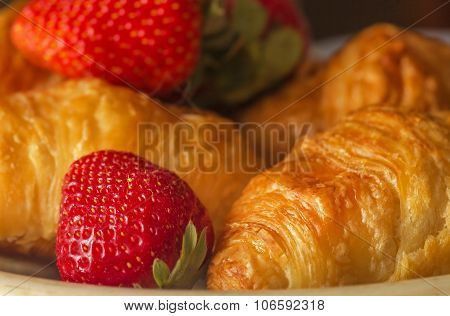 Fresh Croissants And Strawberries