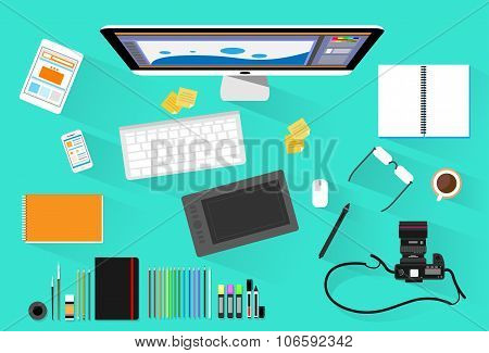 Graphic Designer Photographer Workplace Desk Computer Desktop Workstation