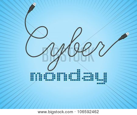 Digital Promo Text On A Blue Background For Cyber Monday. Sale, Discount Theme. Vector Illustration