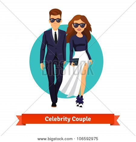 Man and woman stylish hollywood stars
