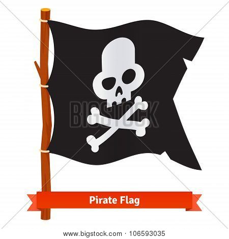 Black pirate flag with scull and crossed bones