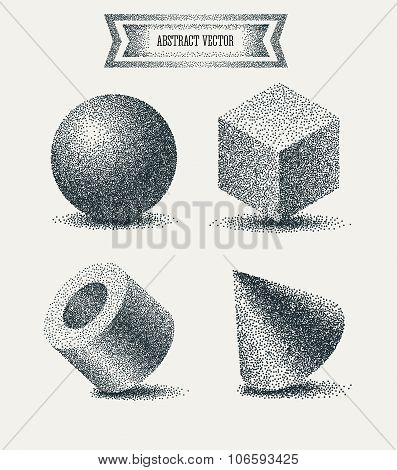 Halftone elements with  Dots. Dotwork Engraving Pattern Background. Vector Illustration.