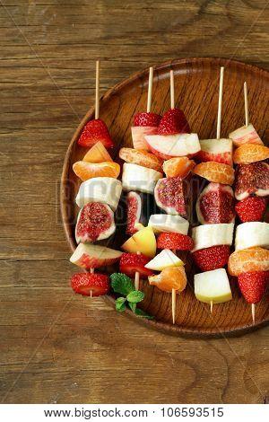 fruit on wooden skewers - dessert skewers