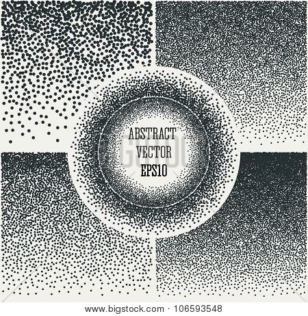 Halftone Background with  Dots. Dotwork Engraving Pattern Background. Vector Illustration.