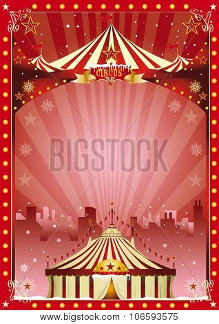 poster christmas circus city show. Merry christmas and happy new year. The circus and his show are in the city for christmas ... Enjoy