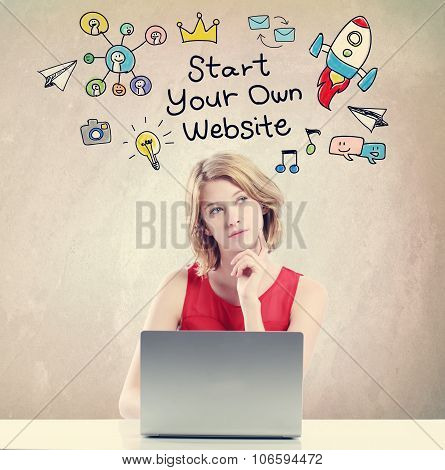 Start Your Own Website Concept With Woman Working On A Laptop