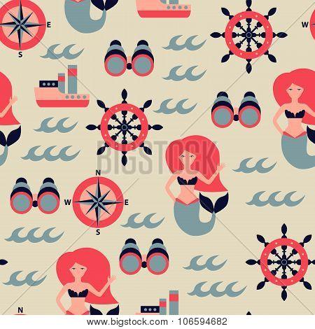 Vector marine seamless pattern