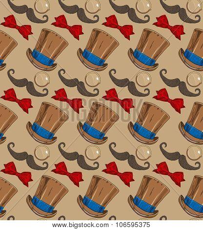 monocle moustache hat and bow tie