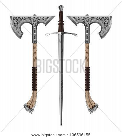 combat weapons  axe,sword