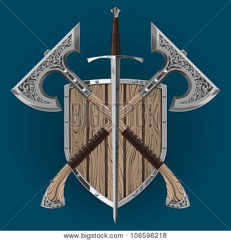 crossed sword and axes