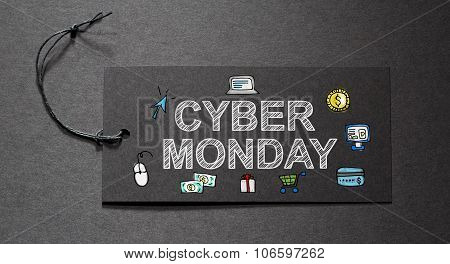 Cyber Monday Text On A Black Tag