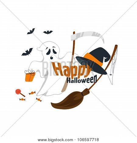 Vector illustration of flat design a happy Halloween