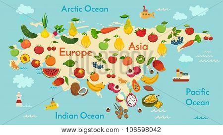 Fruit world map Eurasia