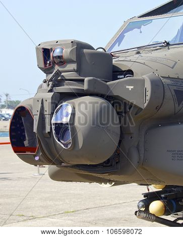 The close view of AH-64 Apache attack helicopter