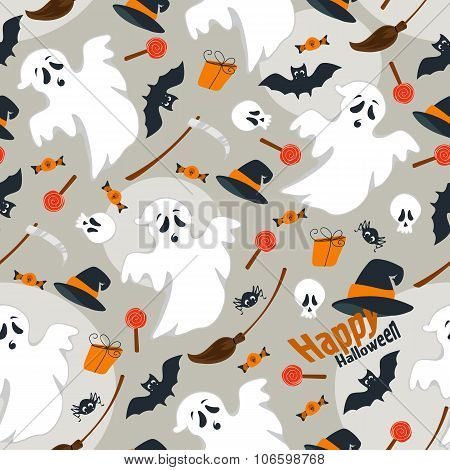 Seamless dark background flat design illustration of Halloween