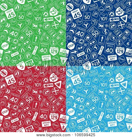 Vector Set Of Seamless Road Signs Patterns.