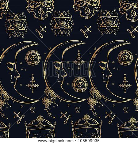 Alchemy and magic seamless pattern.