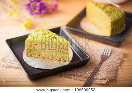 Green Tea Cake On Wood Table