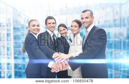 Group of business people, iblue background. Concept of teamwork and cooperation