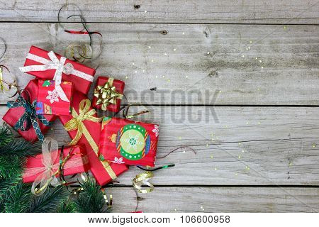 Holiday presents on wood floor