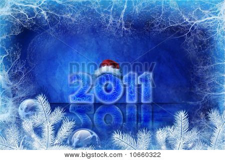 Blue Christmas Background With Ice And Decorations