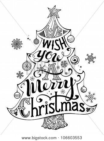 Merry Christmas Lettering In Tree Silhouette Poster