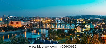 Aerial view of cityscape of Prague, Czech Republic.