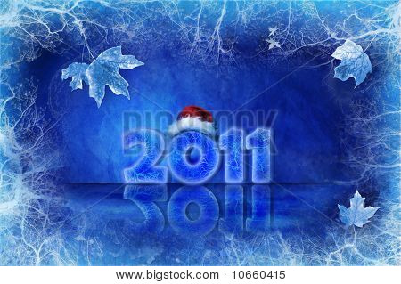 Blue Christmas Background With Ice And Leaves