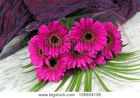Bouquet Of Purple Gerber With A Violet Blue Background