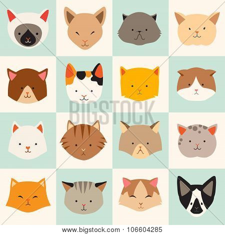 Set of cute cats icons vector flat illustrations