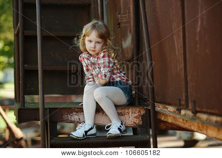 little beautiful girl with long hair
