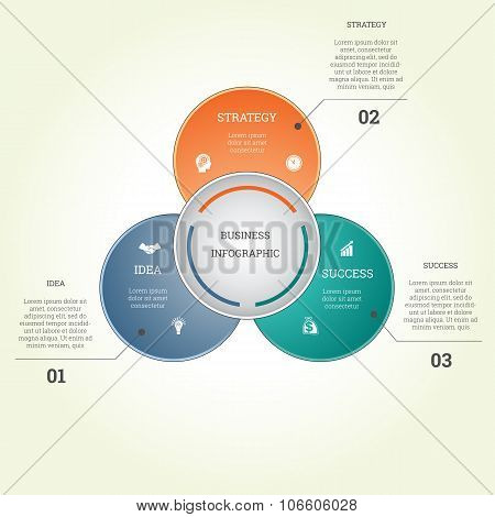 Infographic Business Template Three Text Areas