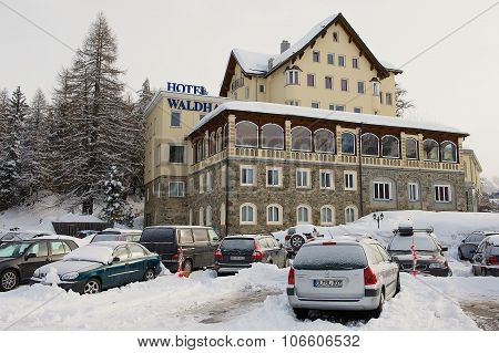 View to the cars parked in front of the Waldhaus am See hotel in Saint Moritz, Switzerland.