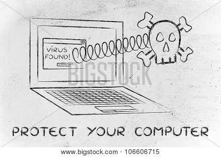 Skull Coming Out Of Laptop With Text Protect Your Computer