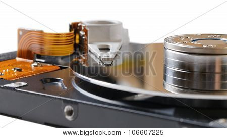 Inside Opened Hard Disk Drive (hdd)
