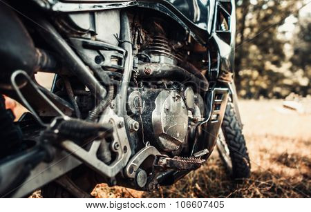 Closeup Photo Of Old Motor Bike Outdoor