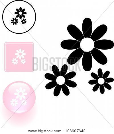 flowers symbol sign and button