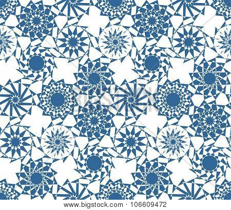 Geometric Seamless Parquet Pattern In Blue Tones. Winter Background With Snowflakes.