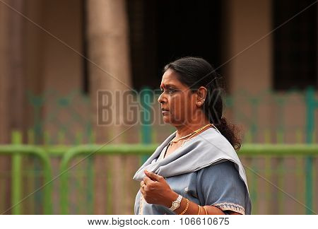 Little India, Singapore-2008.portrait Unknown Indian Woman Walking Down The Street.