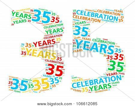 Colorful word cloud for celebrating a 35 year birthday or anniversary