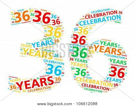 Colorful word cloud for celebrating a 36 year birthday or anniversary