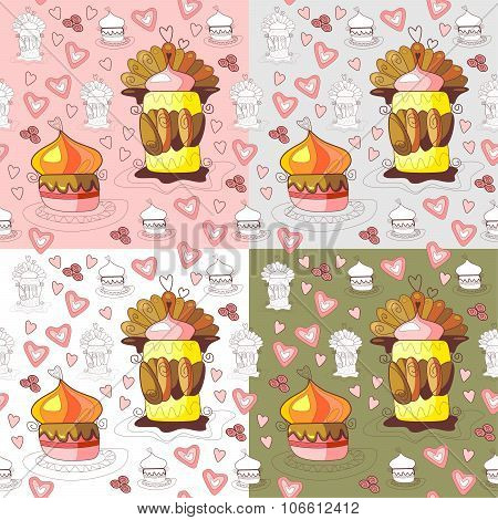 Seamless Pattern Of Sweet Cupcakes. Vector Illustration.