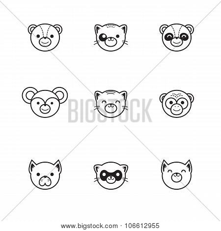 Vector trendy line style set of funny cartoon animals