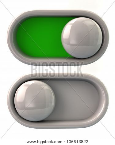 Illustration of toggle switche on off isolated on white background