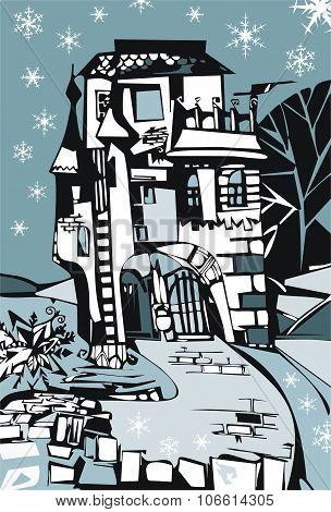 Winter Illustration Of Frozen Castle. Vector Drawing.