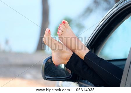 Young girl in a car